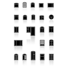 Set black windows with reflection vector