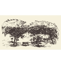Beautiful romantic tree bench drawn sketch vector