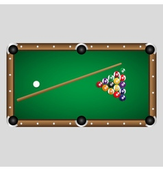 Complete set of color billiards balls and table vector