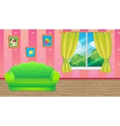 Pink room with green sofa vector