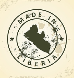 Stamp with map of liberia vector