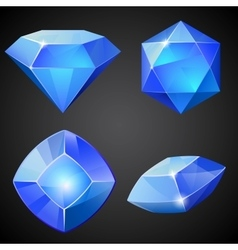 Set of blue gemstones vector