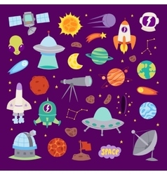 Astronomy icons stickers set vector