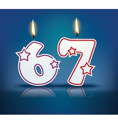 Birthday candle number 67 vector image vector image