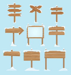 cartoon wooden signs with snow christmas winter vector image