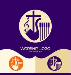 Cross of jesus saxophone and notes vector