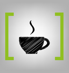 cup of coffee sign black scribble icon in vector image vector image