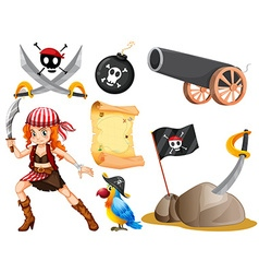Female pirate and other symbols vector