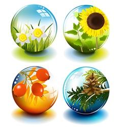 Four seasons spheres vector image vector image