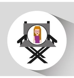 Girl cartoon and chair speaker icon cinema graphic vector