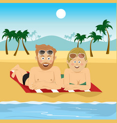 Happy couple lying on towel at tropical beach vector