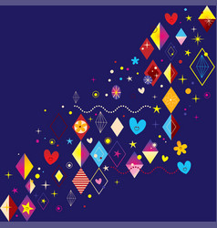 hearts stars flowers and diamond shapes design vector image vector image