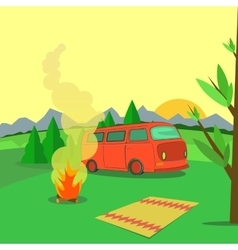 Hiking and outdoor recreation concept with flat vector image vector image