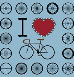 I love bicycle with wheel set vector