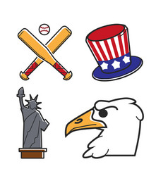 most common symbols of united states of america vector image vector image