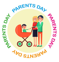 Poster with inscription dedicated to parents day vector