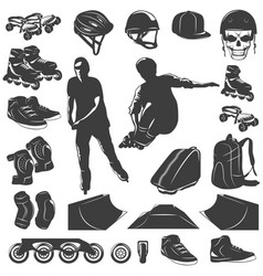 Roller skater black white icons set vector