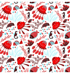 Seamless pattern with marine underwater life vector