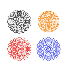 Set of chinese moon cake pattern on white vector