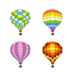 set of four color hot air balloons vector image vector image