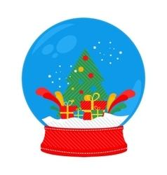 snow globe Christmas tree vector image vector image