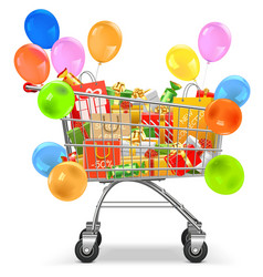 Supermarket Trolley with Gifts vector image