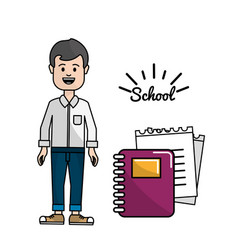 Teacher with rings notebook and its papper vector