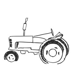 tractor sketch agricultural logo vector image