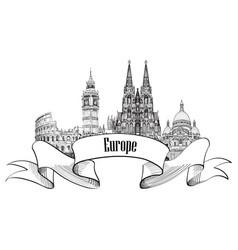 travel europe label famous landmark buildings vector image vector image