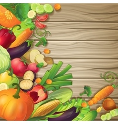 Vegetables On Wood Concept vector image vector image