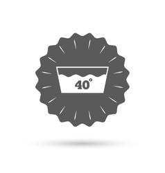 Wash icon Machine washable at 40 degrees symbol vector image