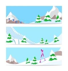 Winter holidays skiing horizontal banners vector