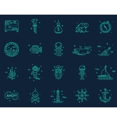 Summer travel pirate icons set vector
