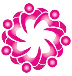 Teamwork lotus flower shape logo vector image