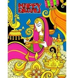 Burning diya on happy diwali holiday doodle vector