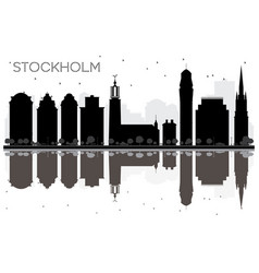 Stockholm city skyline black and white silhouette vector