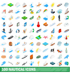 100 nautical icons set isometric 3d style vector