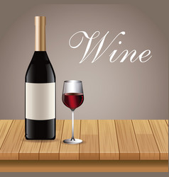 wine bottle glass cup table wooden vector image