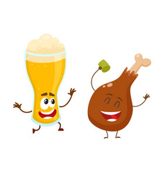 funny beer glass and fried chicken leg characters vector image