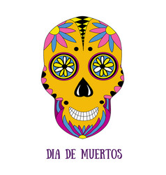day of the dead sugar skull with floral ornament vector image