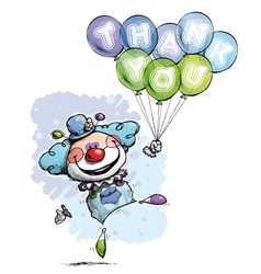Clown with balloons saying thank you boy colors vector