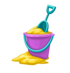 Toy bucket with sand and vector image