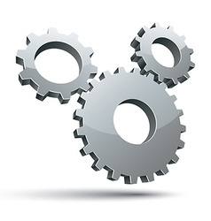 3 gears 3d icon vector