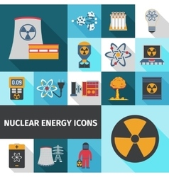 Nuclear energy icons set flat vector