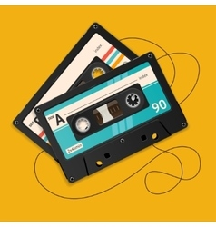 Broken vintage audio tape vector