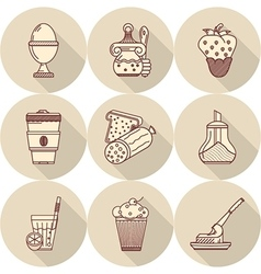 Tasty food flat line icons vector