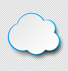 Blank cloud paper note with shadow vector