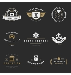 Retro logotypes set vintage graphics vector