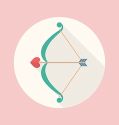 Cupid bow and arrow flat icon vector