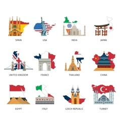 Countries flags landmarks flat icons set vector